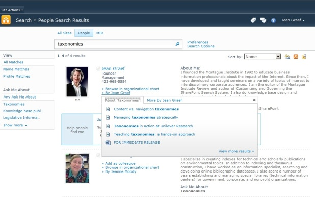 Result page when searching for People in SharePoint 2010