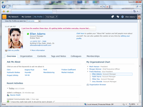 Standard User Profile page in SharePoint Server 2010